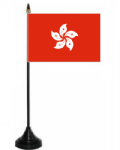 Hong Kong Desk / Table Flag with plastic stand and base.